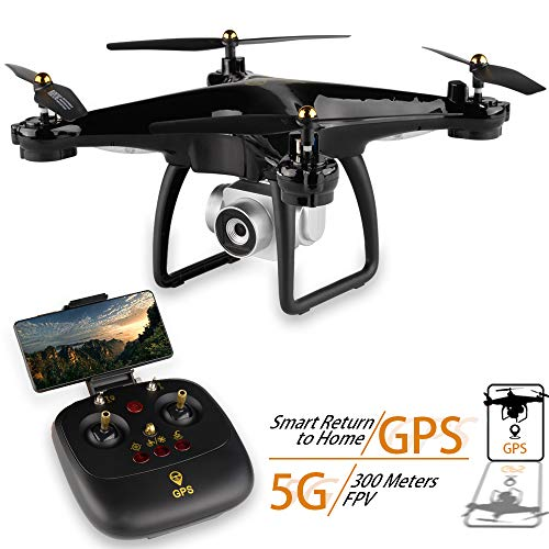 ZMH GPS Drone JJRC H68G with camera 1080P HD 5G WiFi FPV quadrocopter RC helicopter Professional Dron compass Auto Watch Quadcopter, Black
