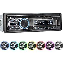 XOMAX XM-CDB624 Autoradio avec Lecteur CD I Bluetooth I RDS Radio Tuner I USB, Micro SD I 2X AUX I 7 Couleurs d'éclairage réglable I 1 DIN