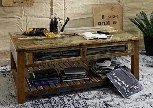 Table basse avec tiroirs 140x80cm - Bois massif recyclé multicolore laqué - Inspiration Ethnique - NATURE OF SPIRIT #108