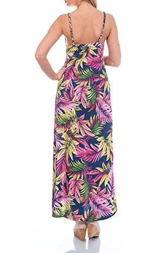 Martildo Fashion, Femmes Tropical Long Vacances Été Robe Maxi Dominica bleu marine