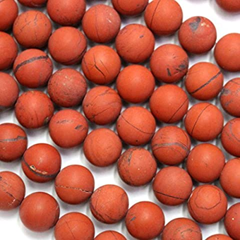 Natural Color Genuine Unpolished Matte Red Jasper Round Real Gemstones Loose Beads for Jewerly Bracelet Making (10mm) by fashiontrend-us