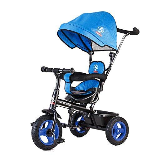 Triciclo per bambini, bicicletta, carrello per bambini, passeggino 1-3-5 anni, gommone a ruota gonfiabile (colore : blu)
