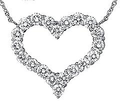 Idea Regalo - Aooaz Donna Collana Catena 18K Oro Bianco 20 Diamante (1,6 Ct) Cuore Ciondolo Collana Argento 45 Cm Collane Nozze Classico