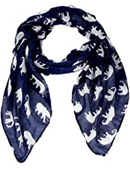 Écharpe Accessoire Pour Femmes Calonice Amorino Écharpe Bleu foncé motif éléphants Polyester Taille Unique 98x184x0.1 cm (LxHxl) 23200
