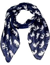 Calonice Amorino Frauen Accessoire Schal, Schal Dunkelblau Elefanten Muster Polyester Einheitsgröße 98x184x0.1 cm (BxHxT) 23200