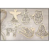 6 Pieces Christmas Set 2 - Wood | Tags | Ornaments | Wooden | Cutout | Hanging | Crafts | Embellishments | Tree | Bauble | Craft | DIY