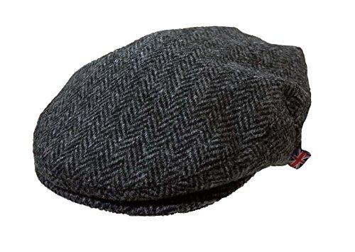 Herren Harris Tweed Wolle Fischgraetenstich Design Country Kappe Schiebermuetze...