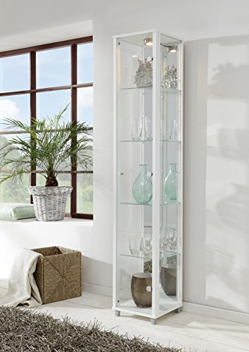 White Single Door Glass Display Cabinet with Mirror Back, 4 Moveable Glass Shelves & Spotlight