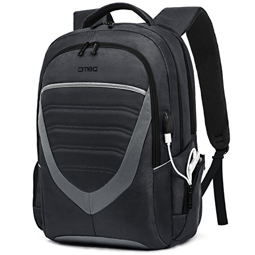 DTBG 15 Zoll Laptop Rucksack mit USB Anschluss/Port Schulrucksack Business Backpack Reisen Campus Rucksack Outdoor Daypack passt 15-15,6 Zoll Laptop/Notebook/Studenten/Damen/Herren,Schwarz