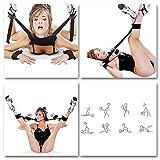 eHizon SM Bondage Set Kunstleder Open Thigh Spreader Körper Fessel