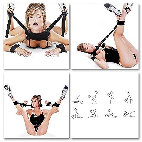 eHizon SM Bondage Set Kunstleder Open Thigh Spreader Körper Fessel Set Hand Fuß Fesseln SM-Spiel Spielzeug