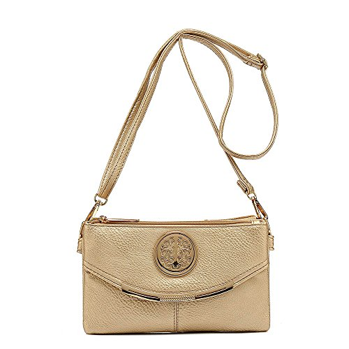 SALE NEW Womens Small Clutch Bags with Wristlet and Long Adjustable Strap,Adjustable strap With Purse or small Shoulder bag (Gold)