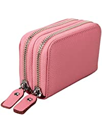 Jzlgbh Genuine Leather Rfid Blocking Spacious Zipper Card Wallet Small Coin Purse - Womens Cards Holder Wallet...