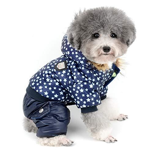 Zunea Wasserdicht Kleiner Hund Schneeanzug Fleece Linded Hoodie Coat Star Druck Winter Warm Jumpsuit Gepolsterte Puppy Kleidung Outfits Winddicht Kapuzen Parka Mantel Jacke für Haustier Katzen Hunde