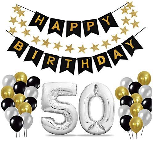 50 Geburtstag Dekoration Set, Deko Geburtstag, Geburtstagsdeko, Happy Birthday Dekoration. Zahlen Luftballons Silber XXL + 24 Große Geperlte Ballons + 1 Happy Birthday Banner (50)