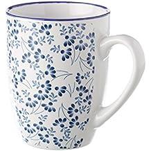 Taza de cerámica blanca y azul, modelo floral
