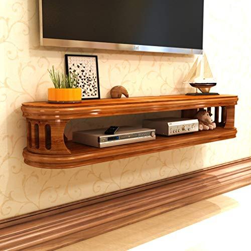 ZPWSNH Dekorativer Wandrahmen TV-Ständer Entertainment-Schrank Aufbewahrungseinheit für DVD-Player Kabelbox schwimmendes Regal wandmontierter TV-Ständer, Holz, braun, 82CM -