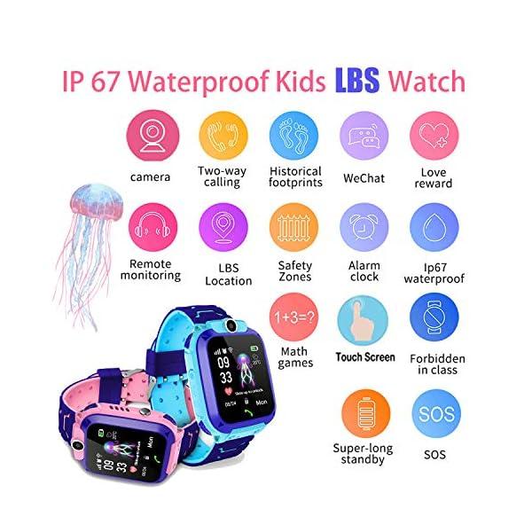 Smartwatch Niños IP67 Impermeable - AGPS LBS Tracker Localizador Reloj Inteligente Niños, Smartwatch Niña con Cámara SOS Chat de Voz Juego Alarma, Reloj Inteligente Niña Compatible con iOS Android 2