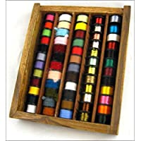 60 FLY TYING THREADS,FLOSSES & TINSELS IN WOODEN BOX
