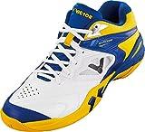VICTOR SH-P9200M Indoor Sportschuh / Badmintonschuh / Squashschuh / Hallenschuh, Blau/Weiß/Gelb, Größe 43