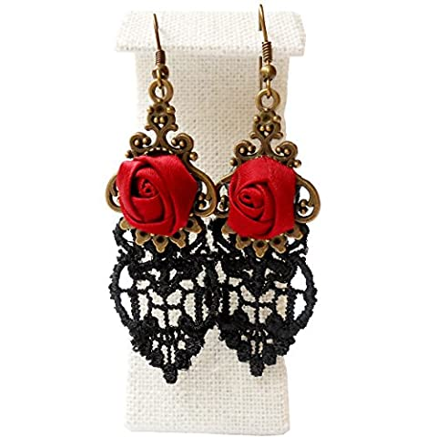 Rarelove Lolita Black Lace Red Rose Flower Metal Chandelier Dangle Earrings
