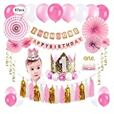 1st Birthday Party Decorations Girl - Primo Decorazione Festa di Compleanno per Bambini Kit Rosa, Bandierine Stelle Filanti Palloncini Hanging Fan di Carta Set Cake Topper Cappellino 1 Anno Fascia