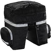 Hama Fahrradtasche für Gepäckträger (3-teilig, zwei Seitentaschen, abnehmbarer Rucksack, mit Regenschutz, 40 l) schwarz