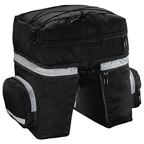 Hama Sac pour porte-bagages de vélo (pour porte-bagages, deux poches latérales, sac à dos amovible, avec habillage pluie, 40 Litres, sac porte-bagages, 3 pièces) Noir