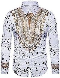 Versaces Hombres Camisa Estilo Nacional Imprimir Salpicaduras de Tinta  Manga Larga Ocio Camisa 96aa48ccc1425