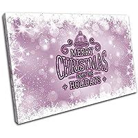 Bold Bloc Design - Christmas Decoration Wall Canvas ART Print XMAS Picture Gift Bokeh 05 Violet Christmas 135x90cm SINGLE Tela Art Print Box incorniciato appeso a parete foto - mano Made In UK - incorniciato e pronto da appendere - Canvas Art Print