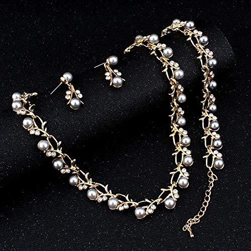 Europäischen und Amerikanischen Modeschmuck-Classic Imitation Perlenkette Gold Farbe Schmuck-Set für Frauen Klar, Elegante Party Geschenk Kostüm, Thumby, a
