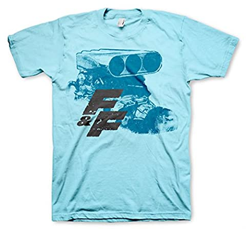Officiellement Sous Licence Fast & Furious Engine Hommes T-Shirt (SkyBleu ), XX-Large