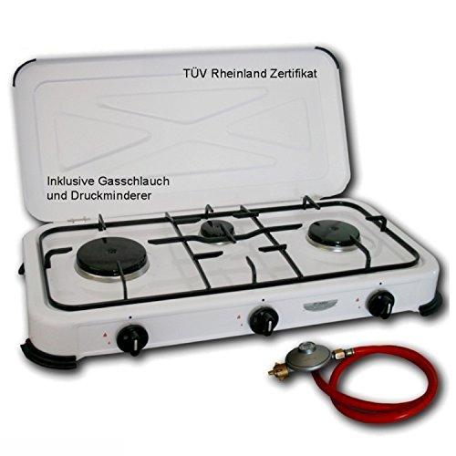 Hochwertiger 3 flammiger Camping Gaskocher Campingkocher / Lieferung inklusive 80cm Anschlussschlauch und Druckminderer! (Kompakte Camping Herd)