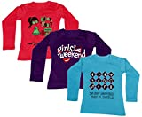 Indistar Girls Cotton Full Sleeve Printed T-Shirt (Pack of 3)_Red::Purple::Blue_Size-6-7 Years