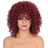 Amphia - Synthetische lockiges Haar Perücken Frau Kurze verworrene Haare Jet schwarz Hitzebeständigkeit Faser