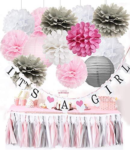 on Party Deko IT'S A GIRL Papier Girlande Banner Pink Grau Weiß Quaste Girlande Seidenpapier Pom Pom für Baby Shower Mädchen Dekoration/Rosa Grau Weiß Geburtstagsparty Dekor ()