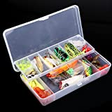 Lixada 105Pcs Artificial Fishing Lure Set Hard Soft Bait Minnow Spoon Two-layer Fishing Tackle Box