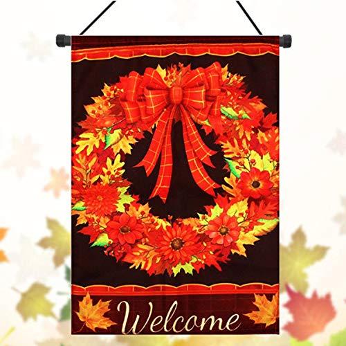 EgBert 12.5' ' X18 ' ' Fall Wreath Garden Flag Welcome Autumn Leaves Floral Briarwood Lane Decorations Autumn Leaves Teller