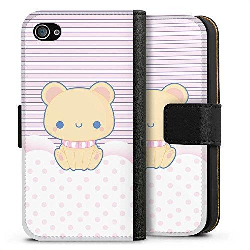 Apple iPhone X Silikon Hülle Case Schutzhülle Kitty Katze Kawaii Sideflip Tasche schwarz