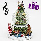Traumhaft schöne XXL Schneekugel, Weihnachtsbaum mit Schneewirbel, Licht und Sound, Ø 8,5 cm