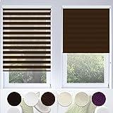 Doppelrollo VarioLight mit Kassette | Duo-Rollo für Fenster flexibel einstellbar - blickdicht oder transparent | Rollo Größe & Farbe wählbar (70 cm Breite x 150 cm Länge) | Dunkelbraun