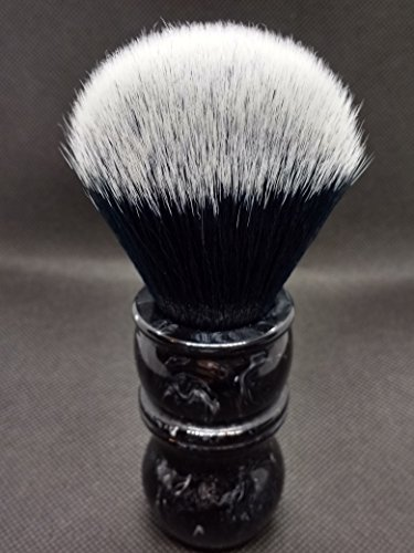 Yaqi 24mm Smoking Bianco e Nero Punta Dei Capelli Sintetici di Colore Marmo Manico In Resina Barbiere Pennello Da Barba