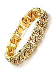 Idea Regalo - Halukakah● Bling● Uomo Placcato Oro Reale 18k Set di Diamanti Artificiali Grande Catena Cubana Braccialetto 8.5