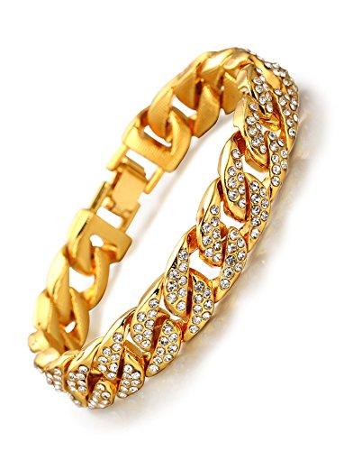 Imagen de halukakah ● bling ● hombres 18k oro verdadero plateado set de diamantes artificiales de gran cadena miami cubana pulsera 8.5