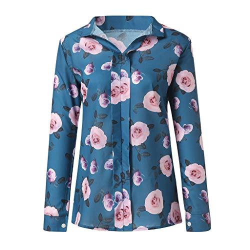 iHENGH Damen Top Bluse Lässig Mode T-Shirt Frühling Sommer Frauen Bequem Blusen Langarm Tops Chiffon Print mit V Ausschnitt, ()