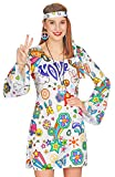 Andrea Moden Hippie Ladies Costume Hope - Bianco Colorato - Flower Power Love Minidress Costume Set Stile Anni '60 -'70 (40/42)