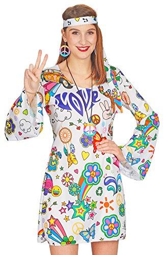 Damen Kostüm Hope - Weiß Bunt Gr. 36/38 (Hippie Retro Print Erwachsene Kostüme)