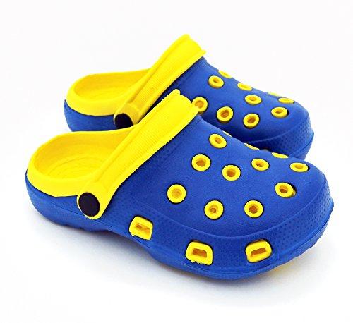 Fashion & Joy–Clogs - Ciabatte per bambini con cinturino alla caviglia e suola con scanalature–Ciabatte per il giardino o per il mare, sandali–Protezione e ottima aerazione durante l'estate–Ki Blu/Giallo