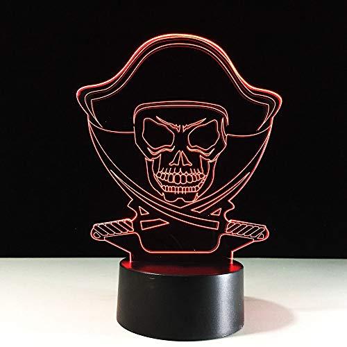 �nderung 3D Nachtlichter Piraten Schädel LED Schlafzimmer Dekor Tischlampe USB Nachttischlampe Schlaf Beleuchtung Luminaria Kinder Geschenk ()