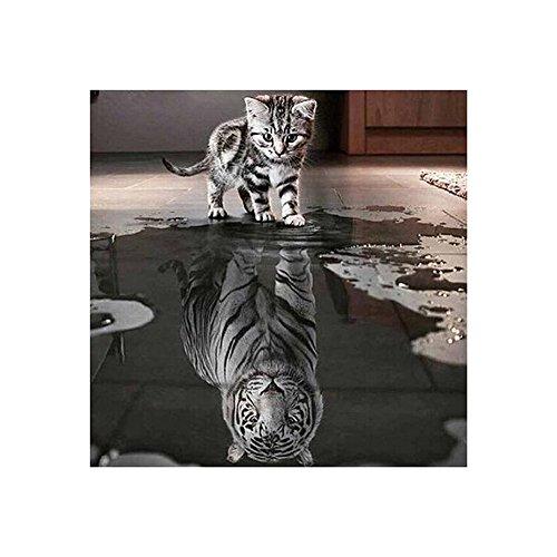 AIHOMETM 5D-Diamant-Malen, zum Selbstgestalten, Malen nach Zahlen, Kristallmalerei, romantisches Rosenmuster, 30x 40cm Kitten with Tiger (Zahlen Link)